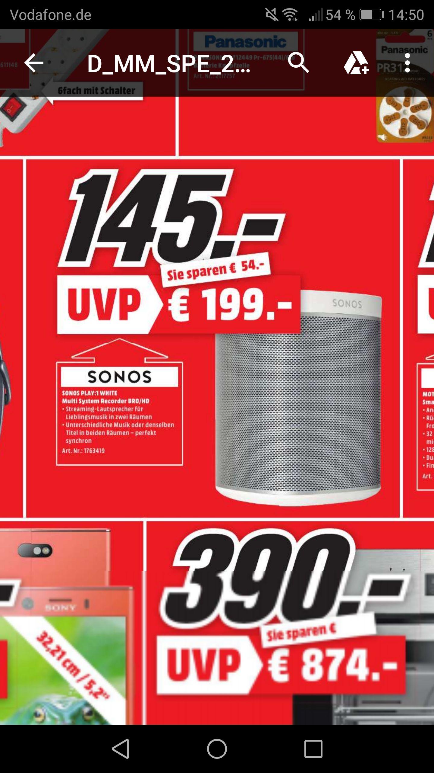 Lokal Media Markt Speyer Sonos Play:1 Weiss für 145 Euro