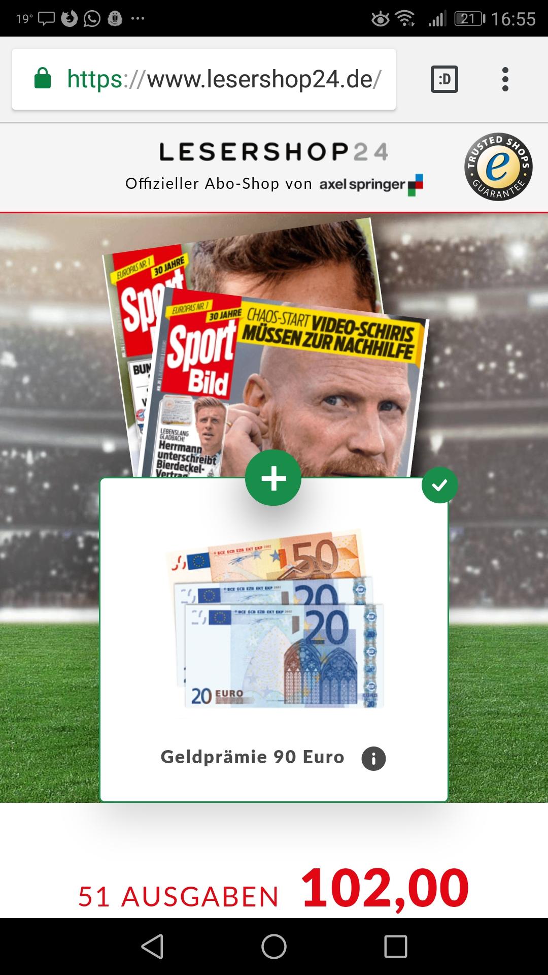 51 Ausgaben Sportbild plus 90€ Verrechnungsscheck für 102€