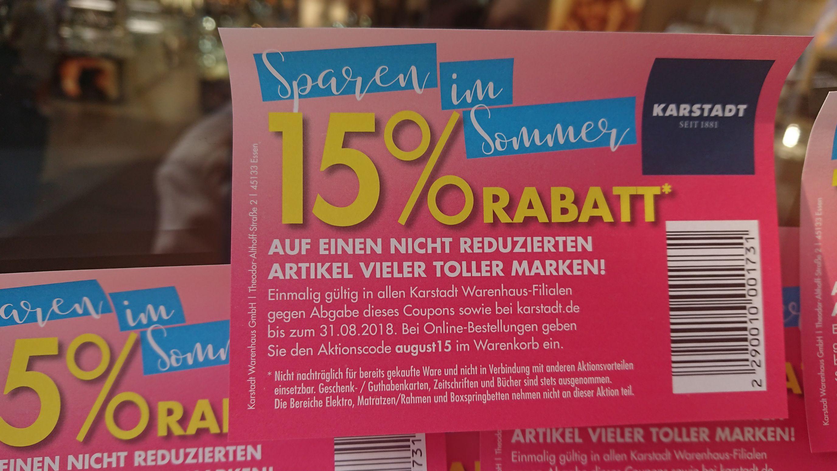 15% auf nicht reduzierte Artikel bis 31.8. (Karstadt online und offline, ohne Elektronik, Betten)
