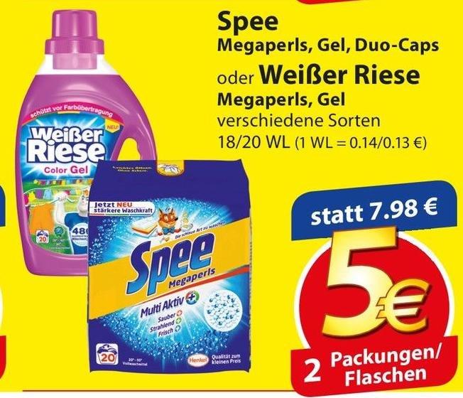 [Regional] Spee oder Weißer Riese Waschmittel Megapearls, Gel oder Duo-Caps für 1,50€ je Packung (bei Abnahme von 4 Packungen)