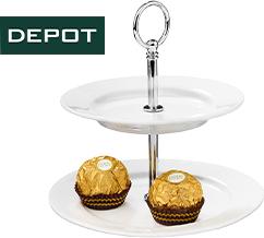 Ferrero Rocher Aktionspackung kaufen und zweistufige Porzellan-Etagere von DEPOT erhalten