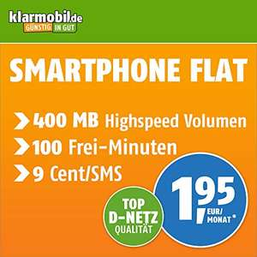 Klarmobil Smartphone Flat S (Telekom) für 1,95€ / Monat mit 400MB + 100 Freiminuten