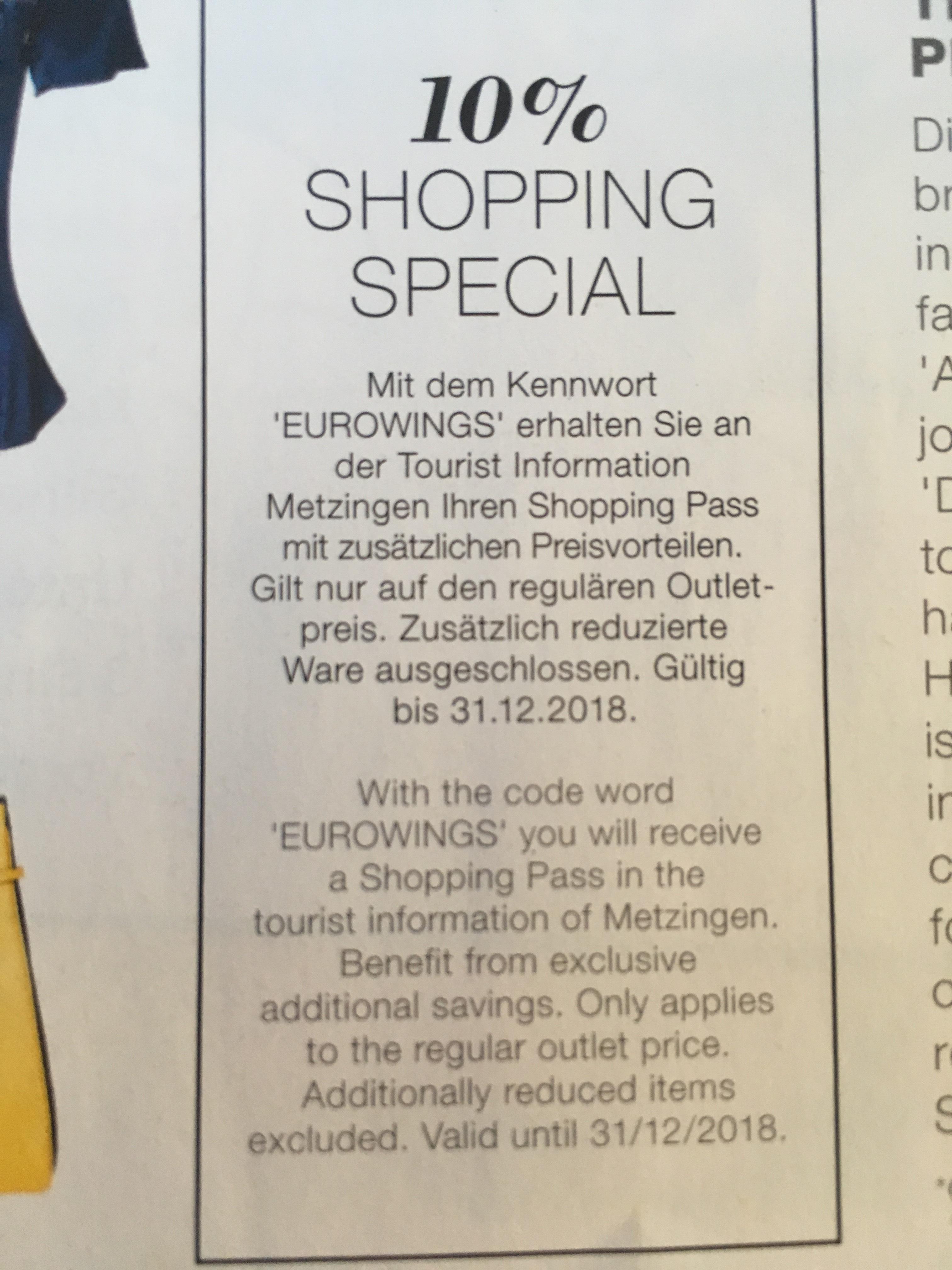 10% auf Outlet Preise in Metzingen