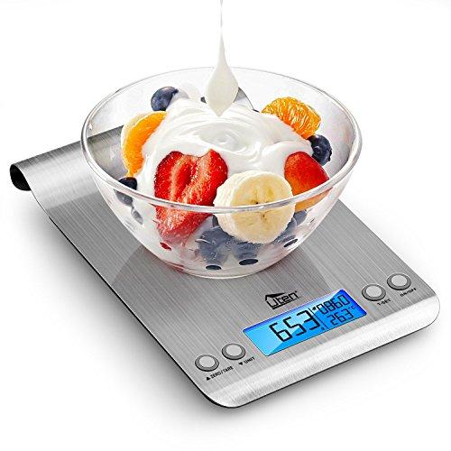 Digitale Küchenwaage von einem Gramm bis 5Kg. mit Timer, Uhr und Temperatur-Sensor ohne Versandkosten mit Amazon Prime