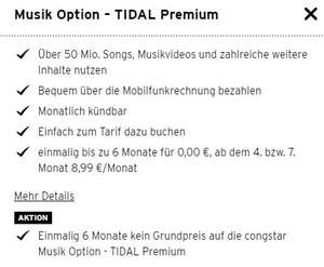 Congstar - 6 Monate  Tidal Premium kostenfrei