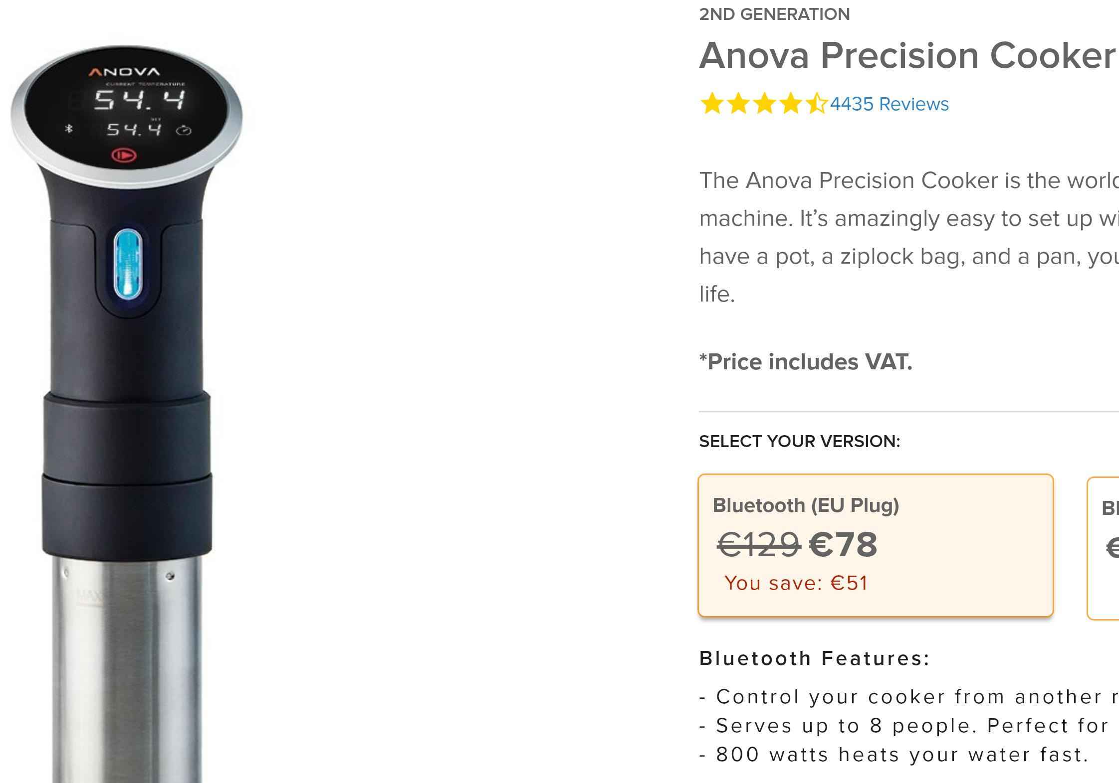 Sous Vide Stick - Anova Precision Cooker Bluetooth