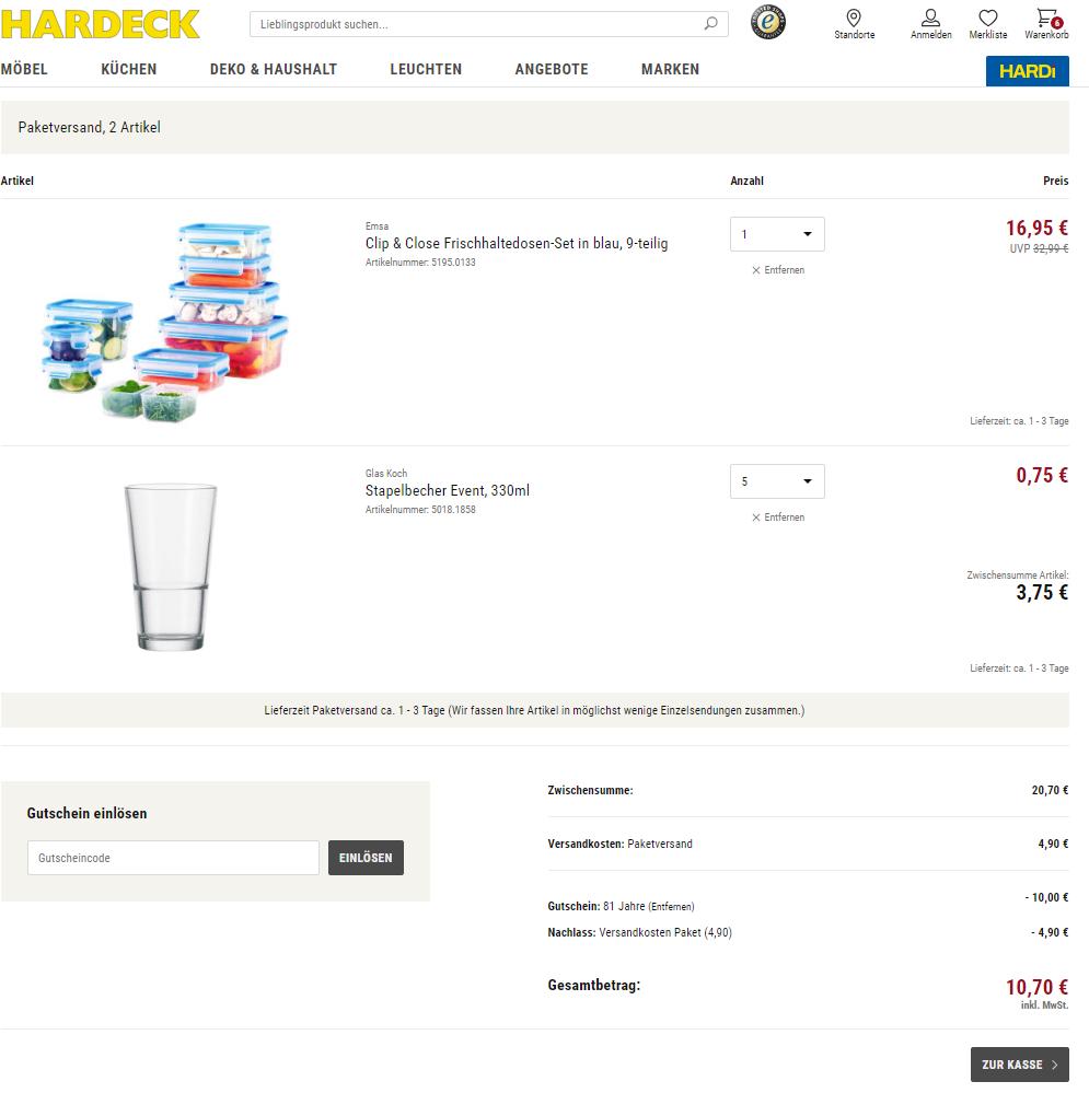 Clip & Close Frischhaltedosen-Set (9-teilig) inclusive 5 Trinkgläser für 10,70€