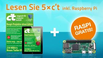 5 Ausgaben c't (Heft oder digital) mit Raspberry Pi Zero WH [heise online]