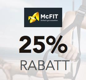 25% Rabatt auf die McFit Grundgebühr und keine Abschlusskosten