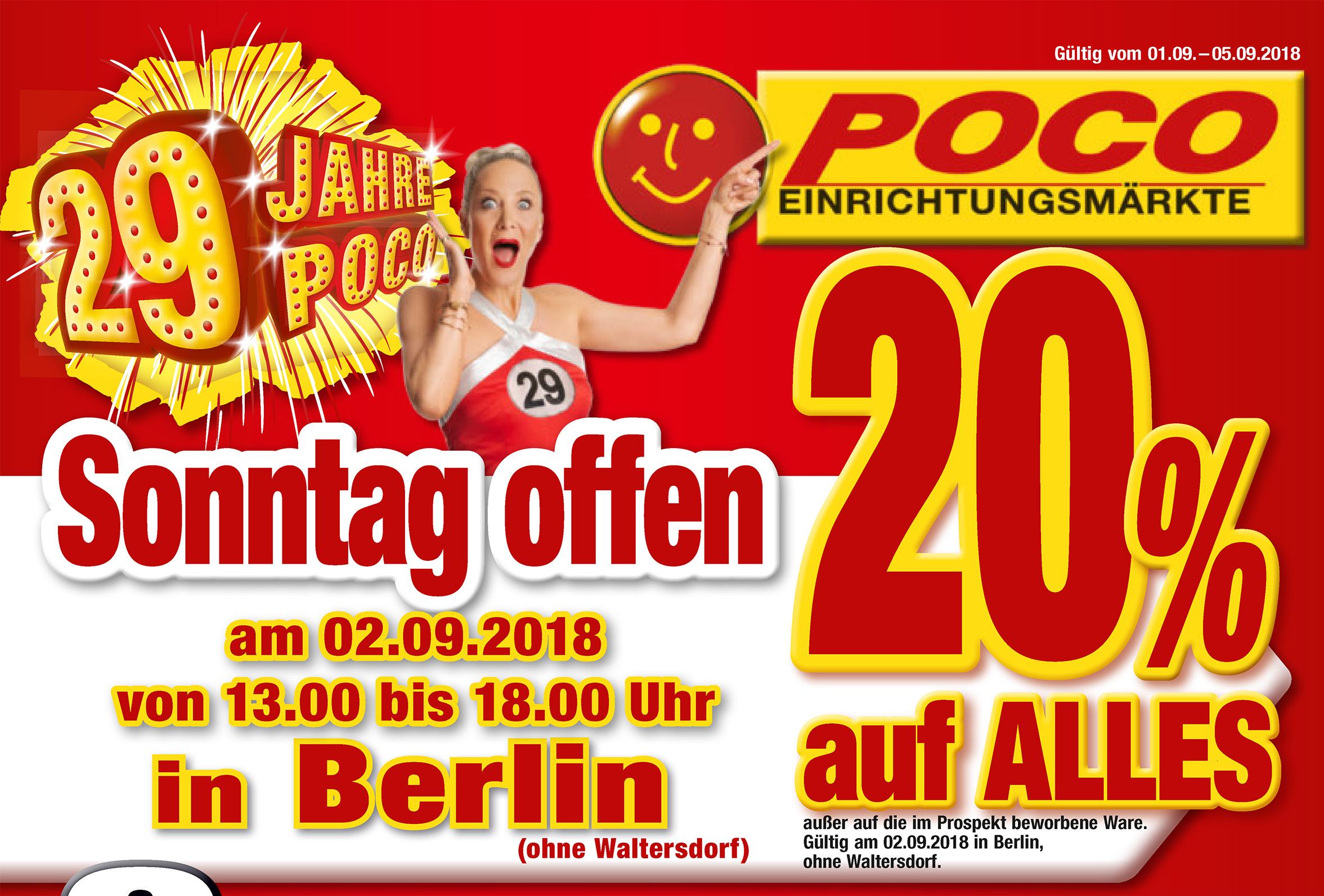 Lokal Berlin - Poco Einrichtungsmärkte - Sonntag 02.09 - 20% auf alles*