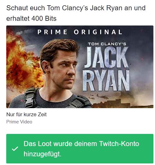 [Twitch Prime] 400 Bits für Twitch,wenn ihr die erste/eine Folge der Amazon Prime-Serie »Tom Clancy's Jack Ryan« schaut.