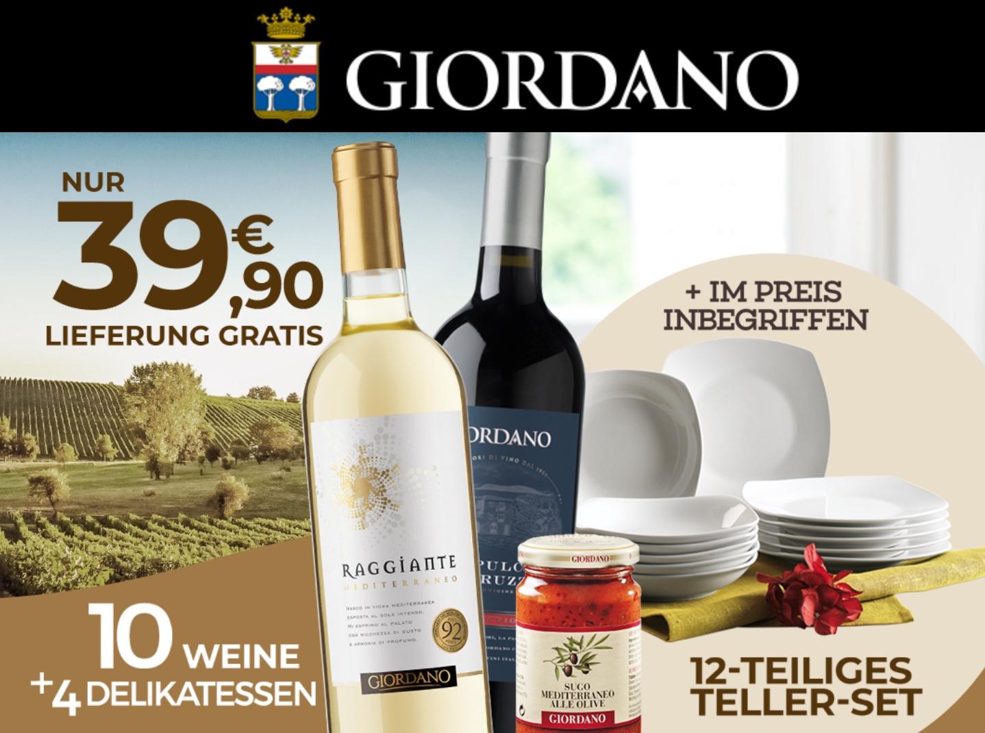 Giordano Weine Probierpaket + 12 teiliges Tellerset nur 32,90 € abzgl. dem Shoop Cashback