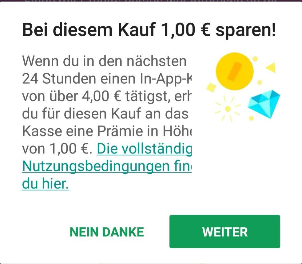 1€ Rabatt für In-App-Käufe bei Google Play (ab 4€)