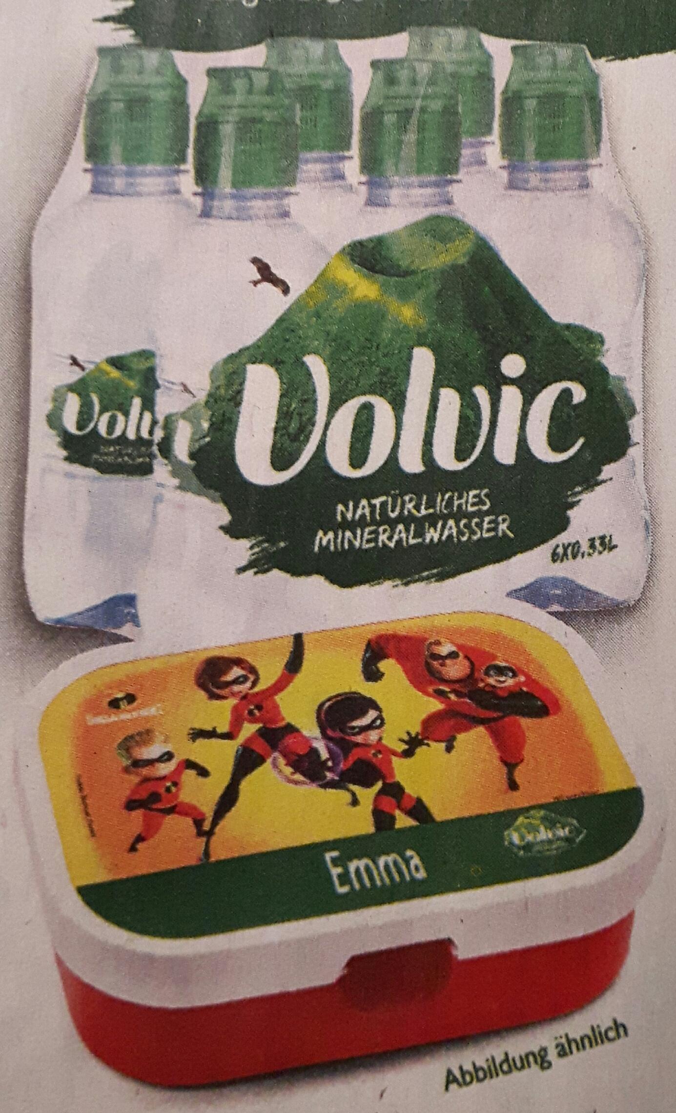 """Personalisierte """"Die Unglaublichen 2"""" Brotbox kostenlos beim Kauf von 2 Sixpacks 0,33l Volvic Mineralwasser"""