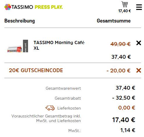 10 Packungen Tassimo Getränke für 17,40 Euro (1,74 €/Pkg.)