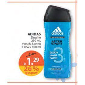 Adidas Duschgel 250ml für 1,29€ bei Müller. 0,30€ Cashback Marktguru möglich+10% Rossmann Gutschein