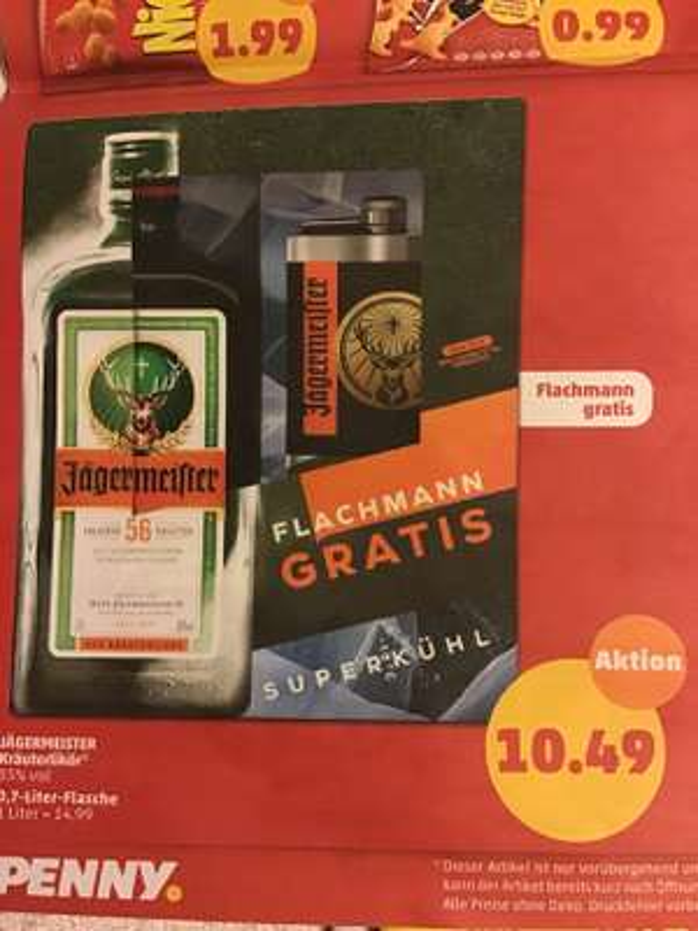 Jägermeister 0,7 liter Flasche +Flachmann (gratis)