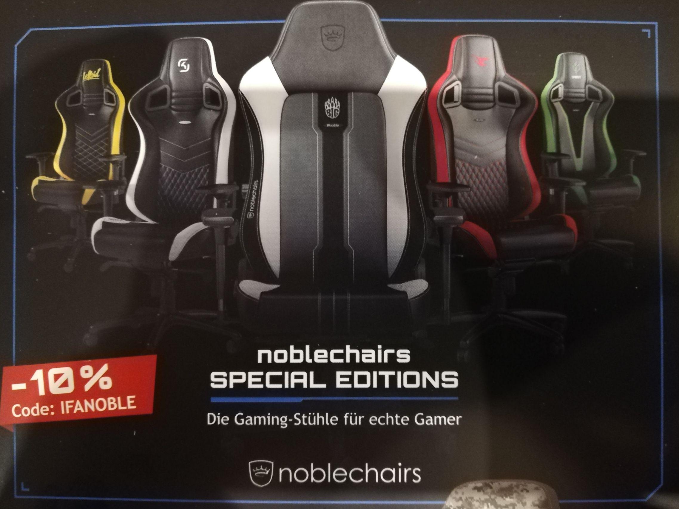 10% Rabatt auf div. Noblechairs und 15% Rabatt auf Nitro concepts chairs bei Caseking zur IFA2018