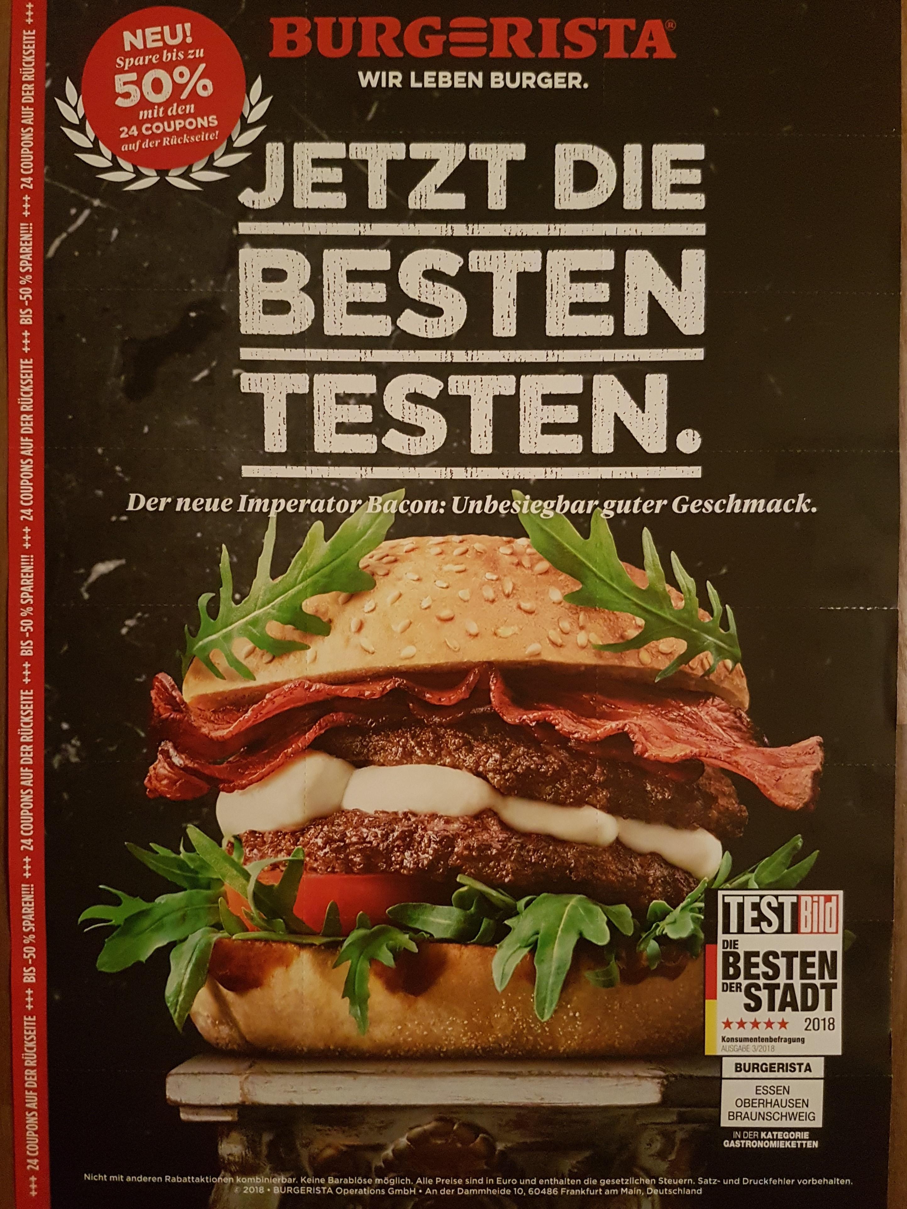 Burgerista Gutscheine mit bis zu 50% Rabatt und neuen Burgern