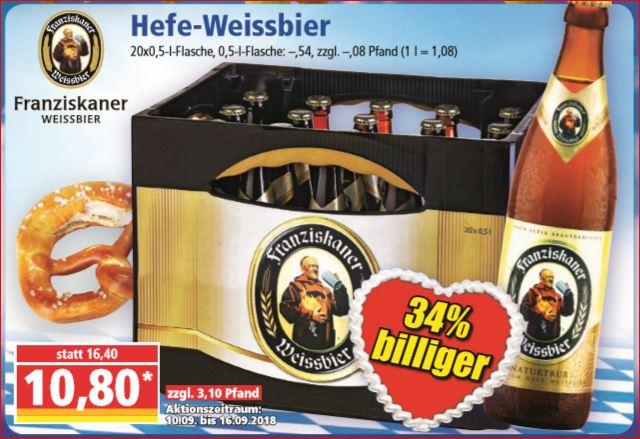 Franziskaner Hefe-Weissbier, der Kasten für 10,80 Euro [Norma]