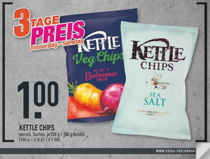 [Edeka Rhein-Ruhr] [6.9.-9.9.]  Kettle Chips versch. Sorten für 1€