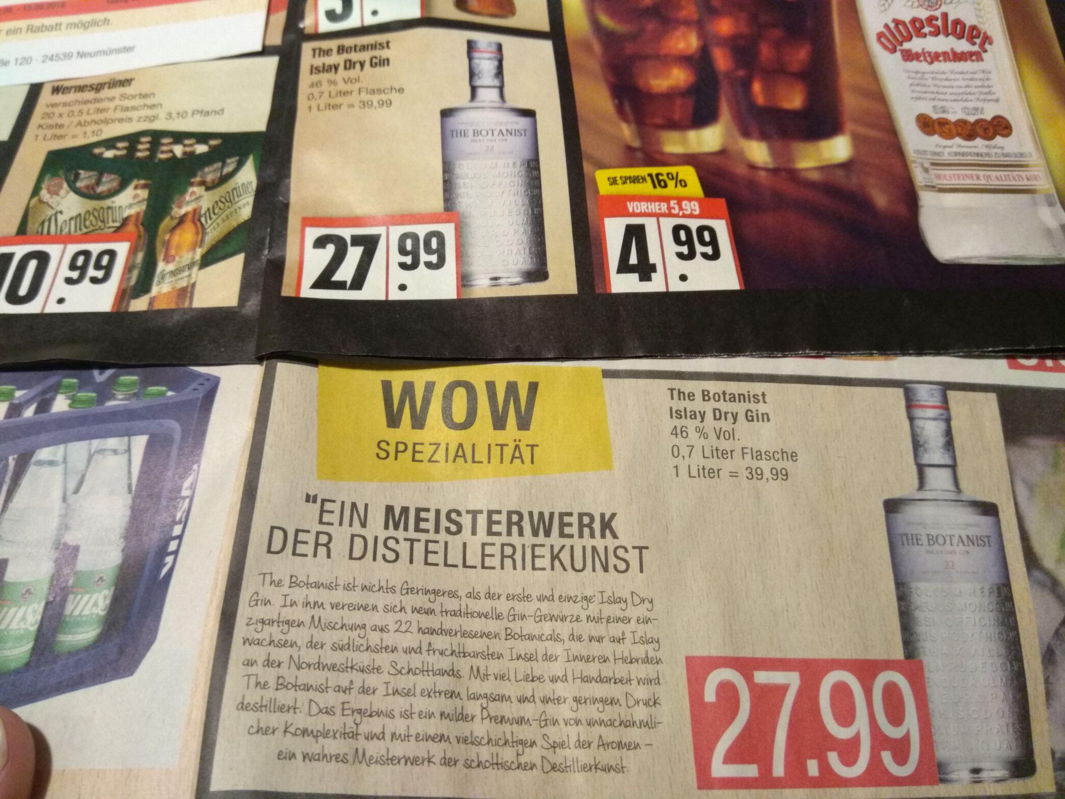 """[lokal - alle Marktkauf-Center, Edeka Nord] Bruichladdich """"The Botanist"""" 46%0,7l (mit 15% Rabatt-Aufkleber sogar nur 23.79 EUR)"""