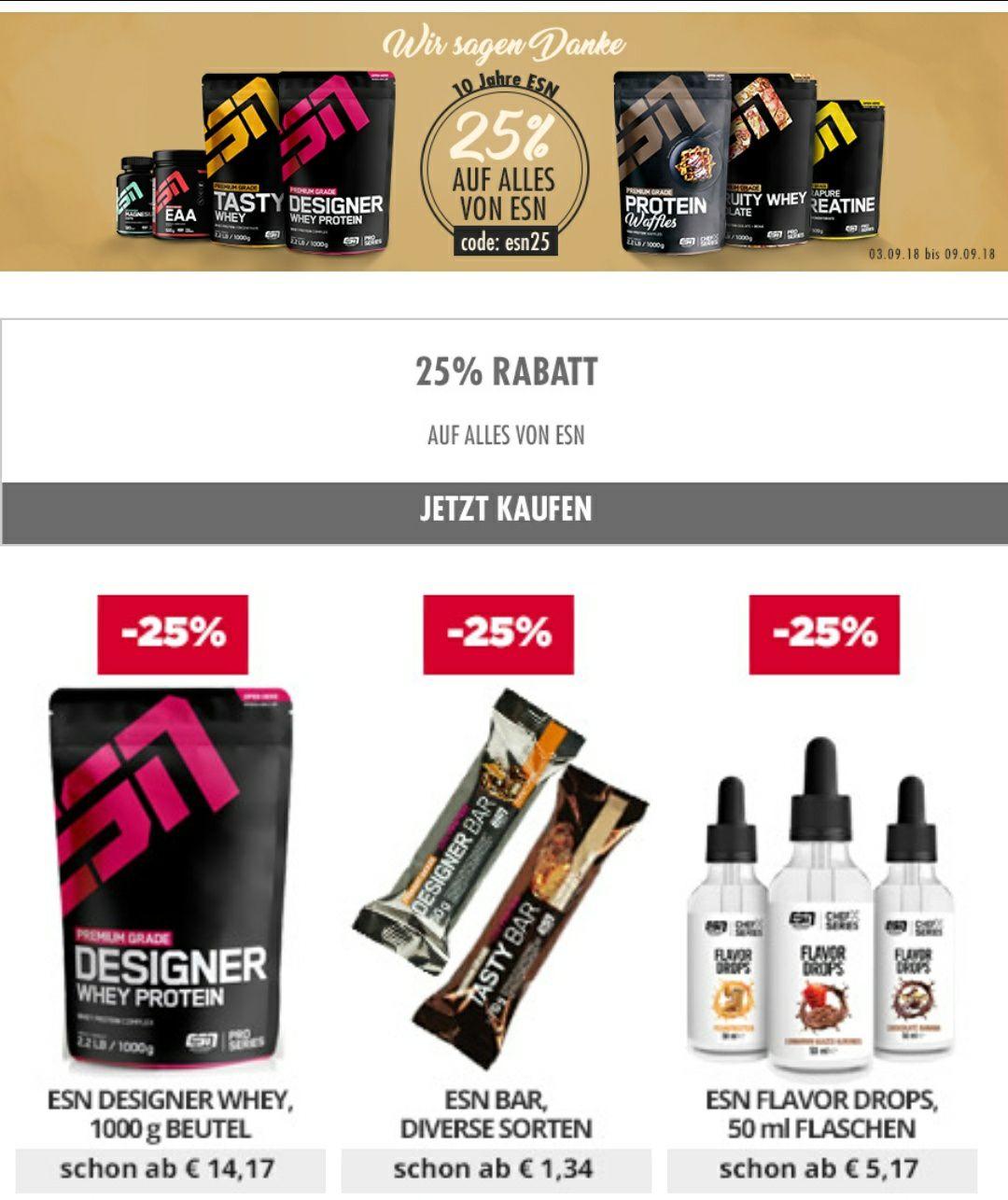 25% auf ESN Produkte, Designer Whey für 14,17€/kg ab 4kg