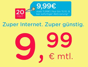 eazy 20 od. 50 (20 - 50 Mbit/s) ab 9,99€ / Monat (bei 50 Mbit/s auch ohne Anschlusspreis)