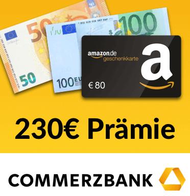 Bis zu 230€ Prämie für das bedingungslos kostenlose Girokonto der Commerzbank via Abo24 ohne Mindestgeldeingang