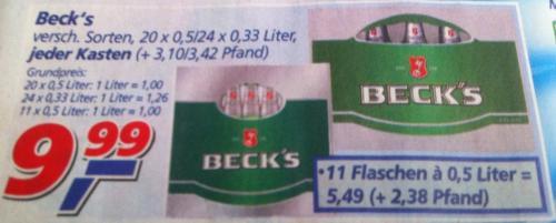 Beck's @ REAL - 1 Kiste 9,99€ (20 x 0.5l oder 24 x 0,33l) - 1 Liter somit ab 1,00 Euro