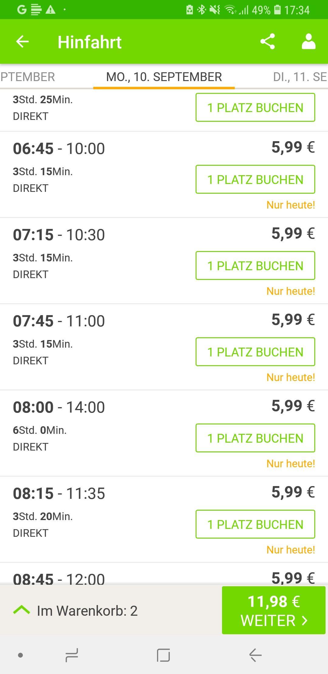 [Flixbus App] Flash Sale ab 5,99 € bis zu 80% Rabatt (Heute bis 21:00)