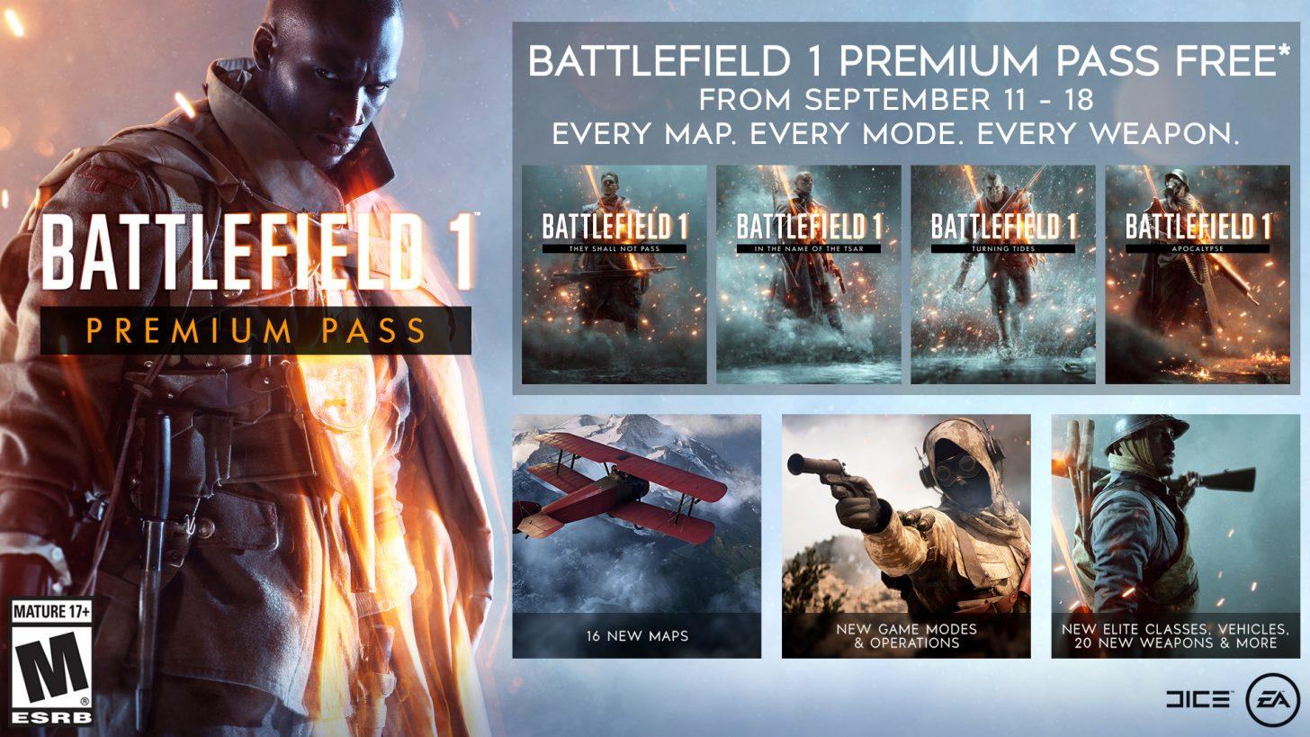 Battlefield 1 Premium Pass kostenlos erhältlich vom 11. bis 18. September