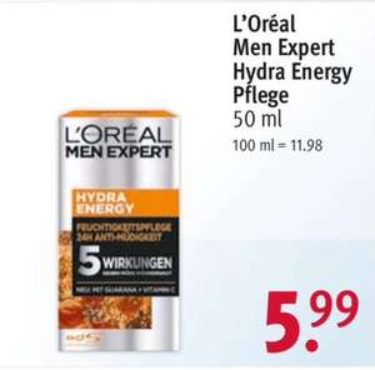 Rossmann: L'Oréal men Expert Hydra Energy 24h Pflege