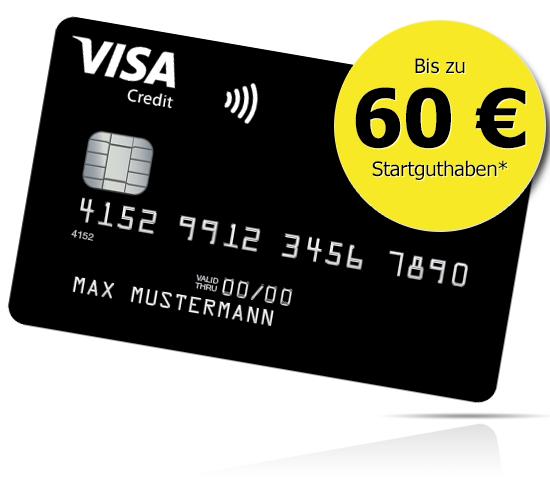 60€ Startguthaben für Neukunden einer dauerhaft grundgebührfreien Deutschland-Kreditkarte Classic