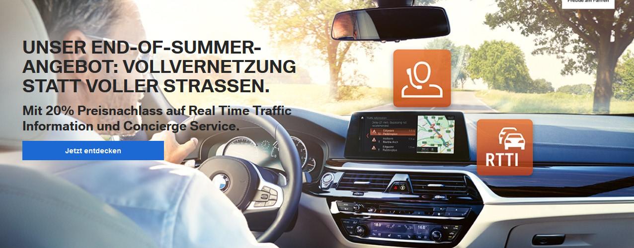 BMW End of Summer Aktion -20% auf RTTI und Concierge-Service