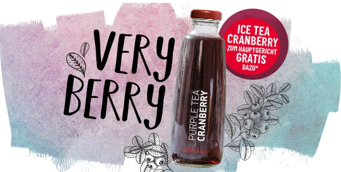 (Vapiano) GRATIS Ice Tea Cranberry zu jedem Hauptgericht