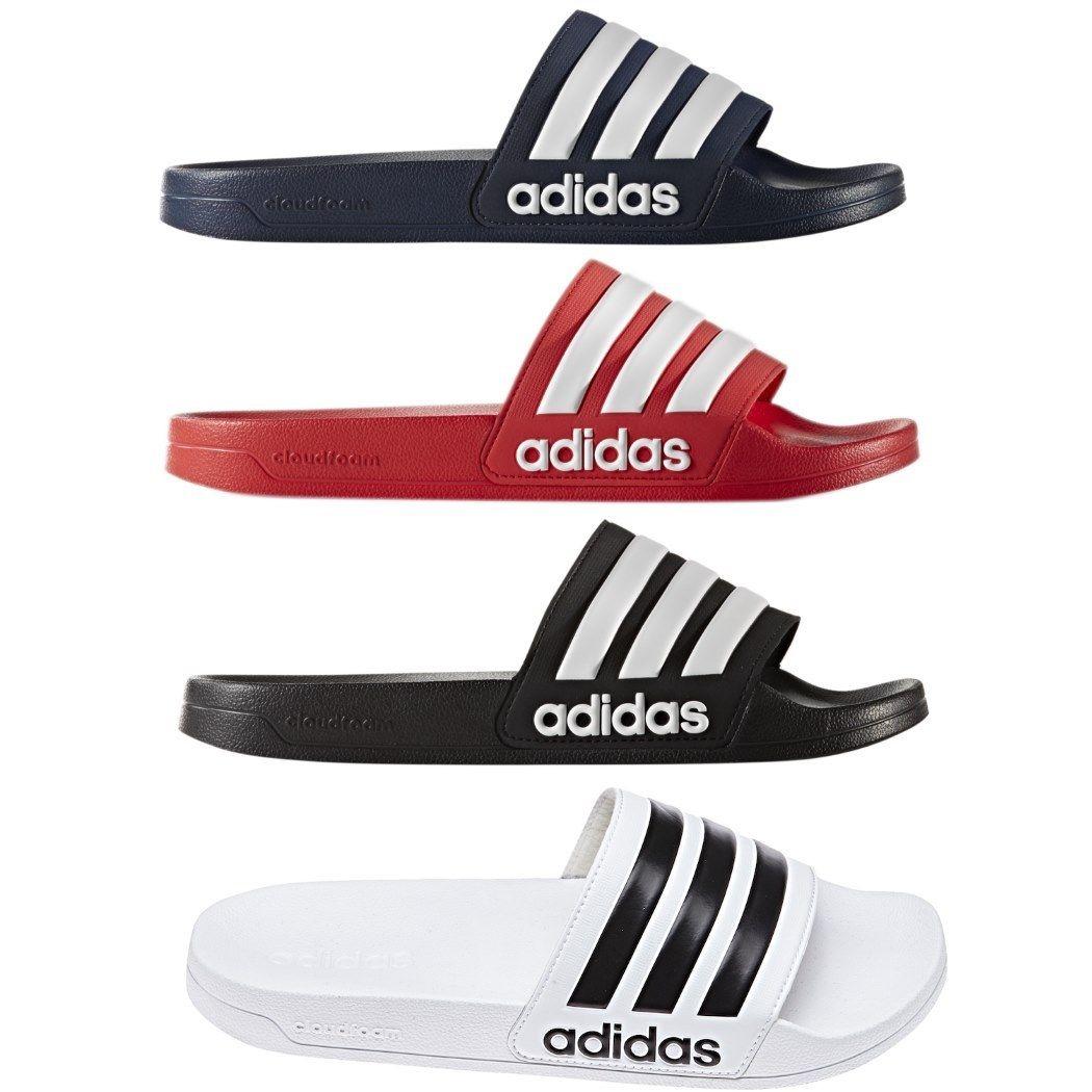 adidas neo adilette Cloudfoam Schlappen in schwarz / weiß / blau / rot