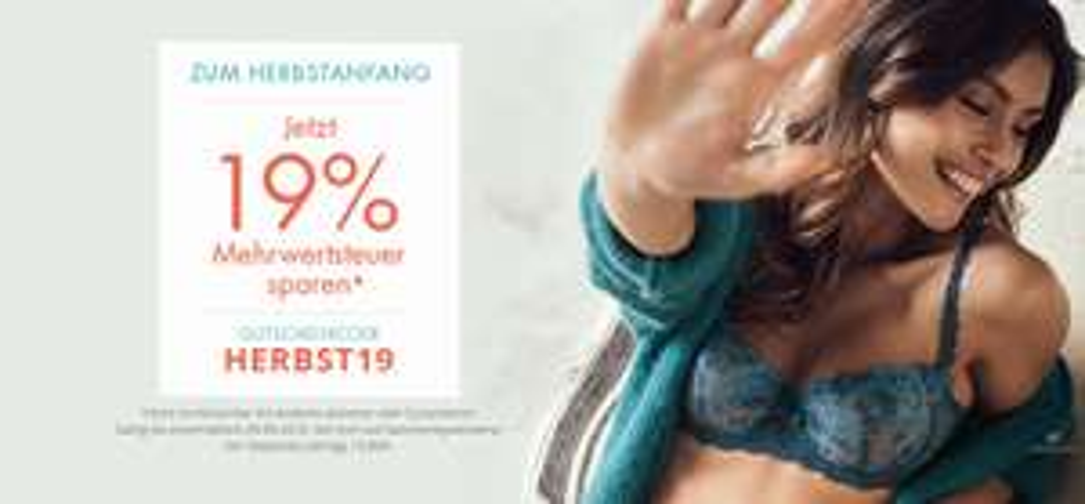 """19% auf alles bei Enamora +15% extra Rabatt möglich bei Neuanmeldung zu """"Meine Größe/Mein Vorteil"""""""