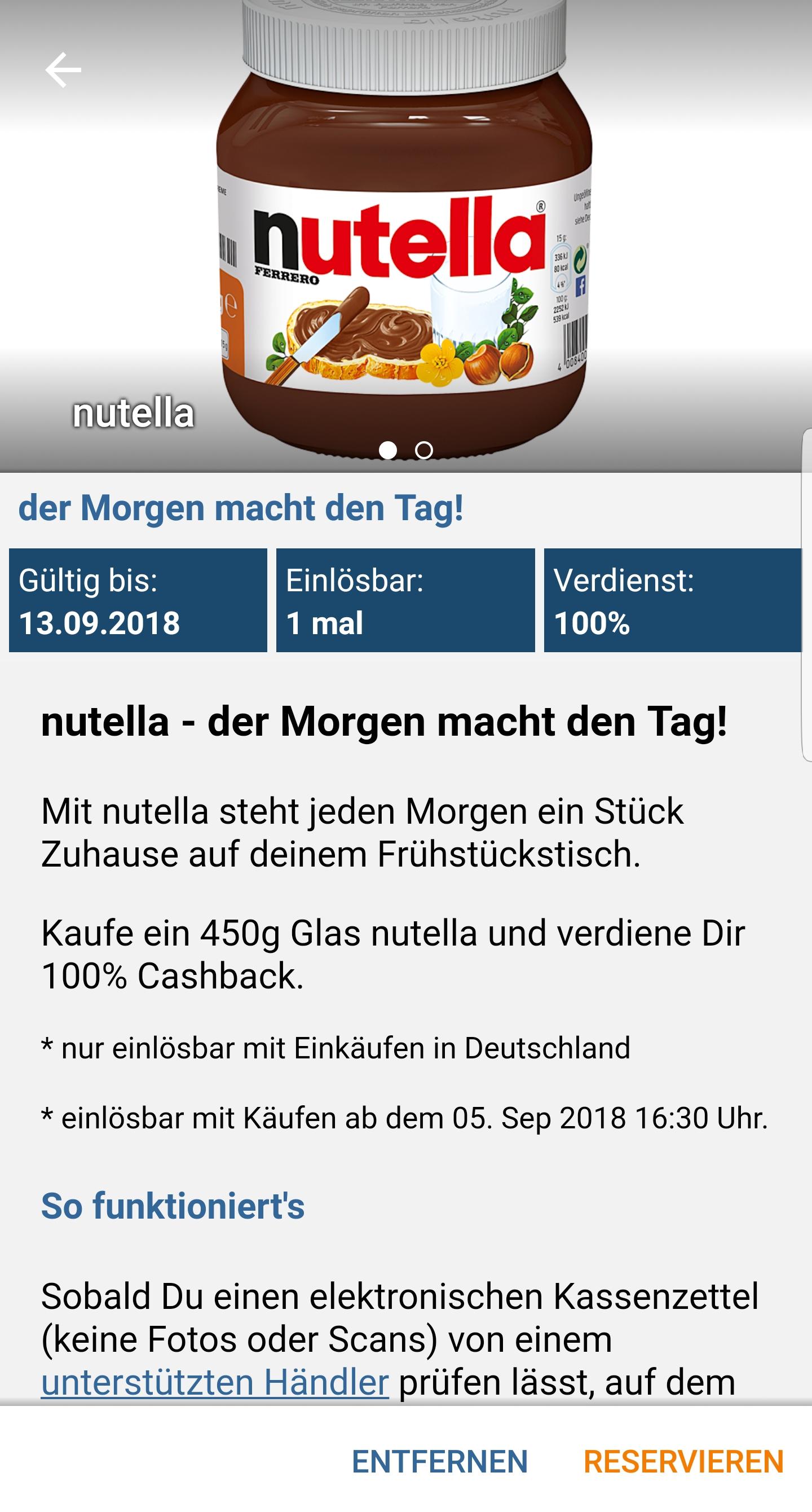 Gratis Nutella (450 g) durch 100 % Cashback bei Reebate
