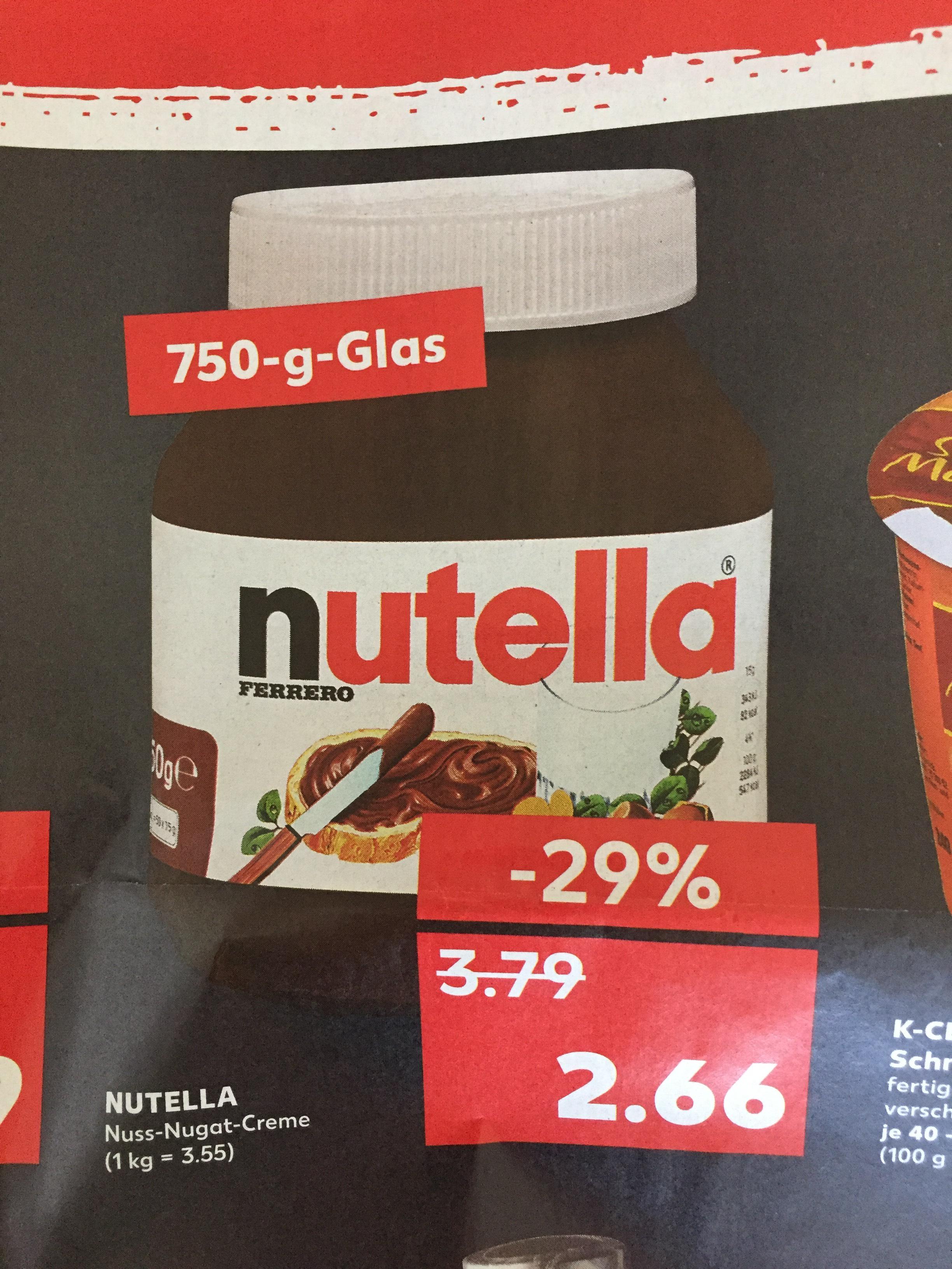 [Kaufland Cloppenburg] Nutella 750g Glas 2,66€