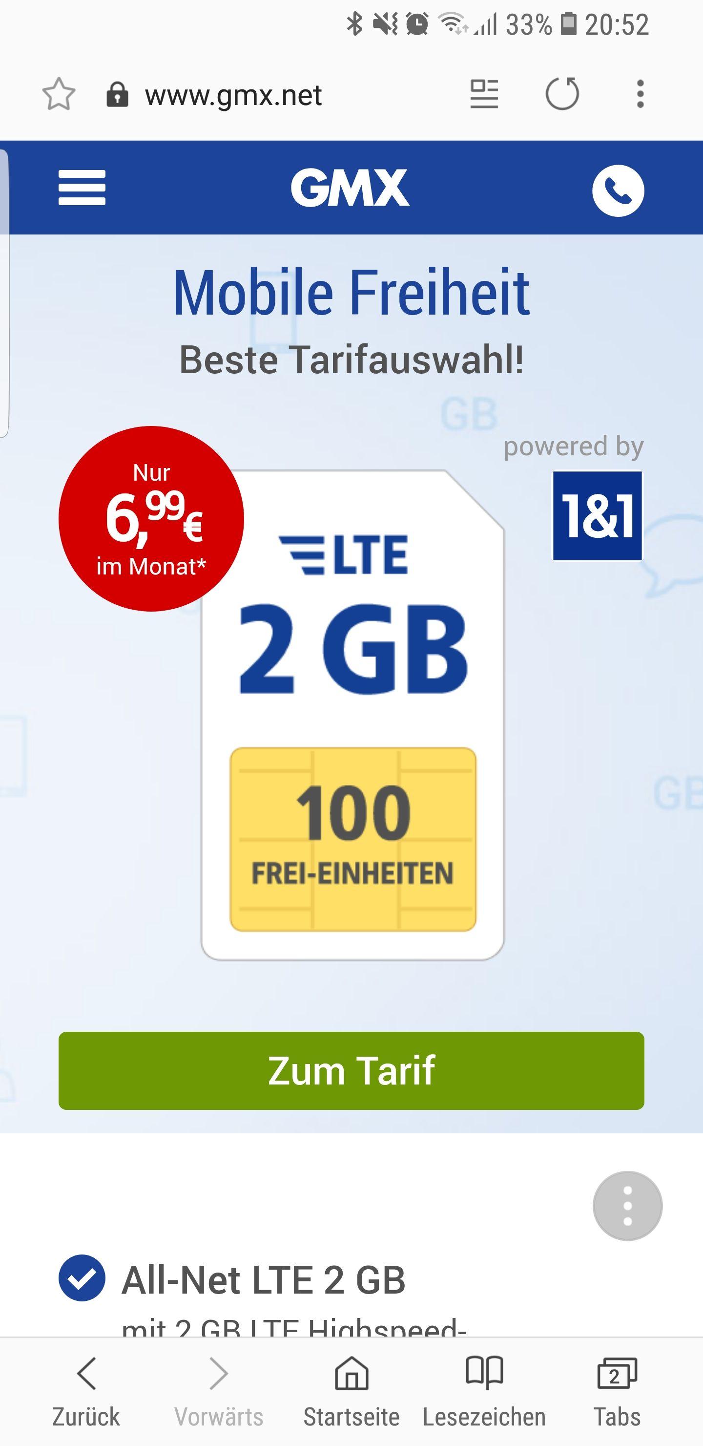 All-Net LTE 2 GB mit 2 GB LTE Highspeed-Datenvolumen
