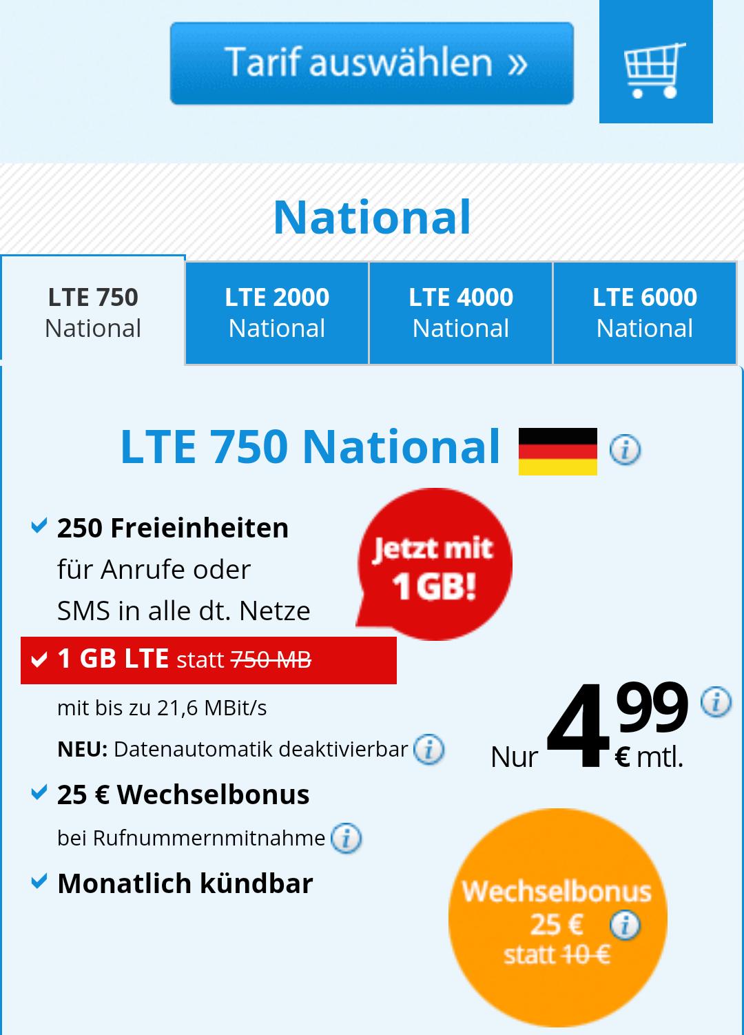 DeutschlandSim 1GB 4,99€/Monat, monatlich kündbar