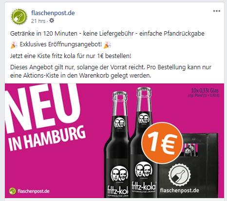 [lokal Hamburg] (flaschenpost.de) - 10 Fritzcola für 1€ // 14€ MBW - Getränkelieferung innerhalb von 120min