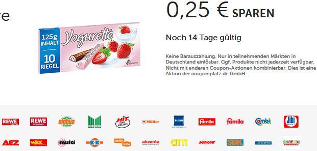 Yogurette 10er von Ferrero -0,25€ Couponplatz