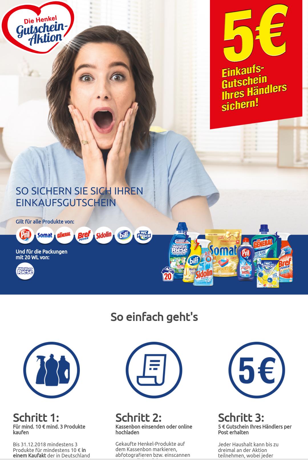 Henkel Gutschein-Aktion 5 Euro Einkaufsgutschein geschenkt
