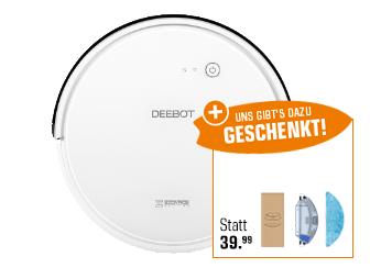 [saturn] Ecovacs Staubsaug-& Nasswischroboter DEEBOT 600 (Smart Home Konnektivität, MAX-Modus) + Ecovacs Nasswisch-Set