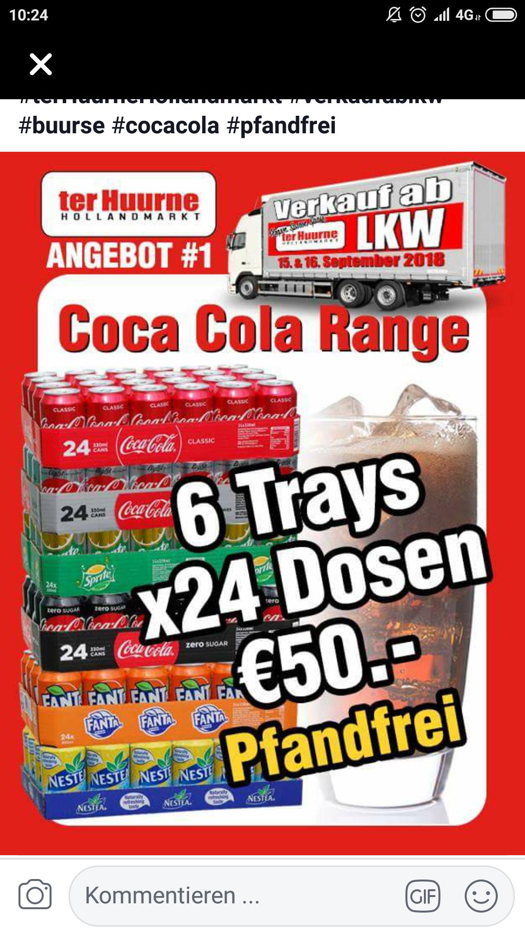 144x Dosen Cola, Fanta, Nestea - Pfandfrei - Verkauf ab LKW