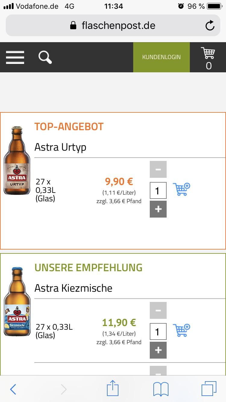 HH 9,90€ ASTRA 27x0,33 bei Flaschenpost.de Bestellen!!