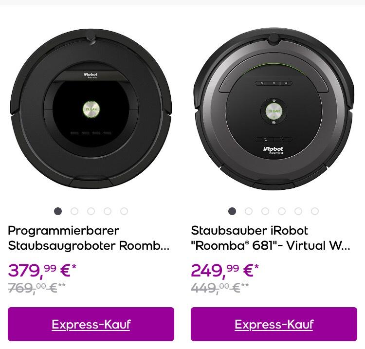 iRobot Roomba 681 für 265,5€ und 875 für 386,50€