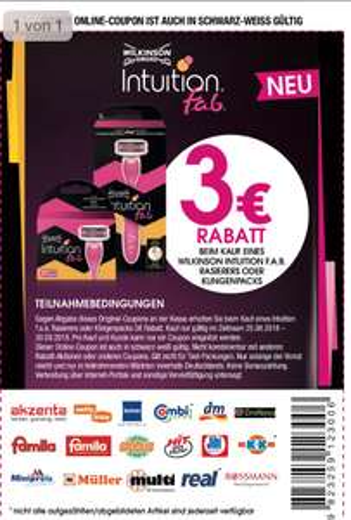 WILKINSON - 3 € Rabatt auf INTUITION F.A.B. Rasierer oder Klingen